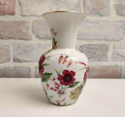 The Regal Bone China Collection Red Pink Floral Flower Pattern Design Small Vase • 7.19£