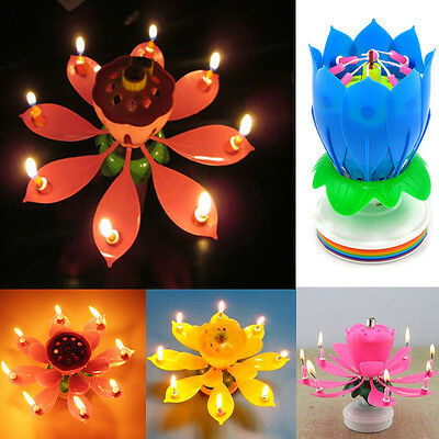 $ CDN18.15 • Buy Magic Cake Birthday Lotus Flower Candle Blossom Musical Rotating Decoration Gift