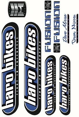 Bmx Bike Bicycle Stickers Decals Transfers - Set Of 9 - Haro Fusion - Blue • 6£