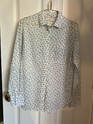 Boden Ivory Floral Cotton Voile Oversized Shirt 6 8 Small • 8£