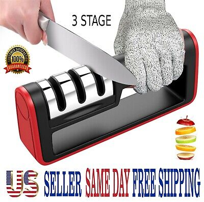 $7.25 • Buy KNIFE SHARPENER PROFESSIONAL CHEF SYSTEM Ceramic Tungsten Diamond 3 Stage Tool
