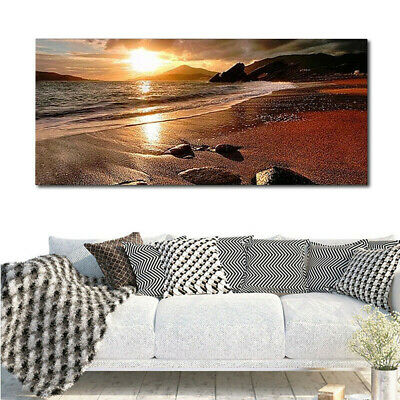 £7.12 • Buy Modern Beach Sunset Landscape Scenery Canvas Poster Picture Home Wall Art Decor