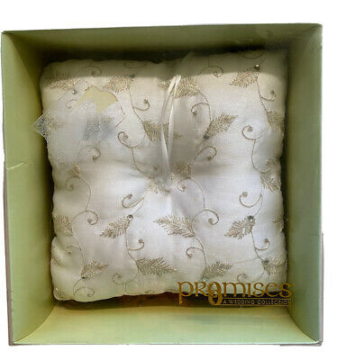 PROMISES His & Hers Ring Bearer Pillow IVORY GOLDEN EMBROIDERY Rhinestones • 10.11£