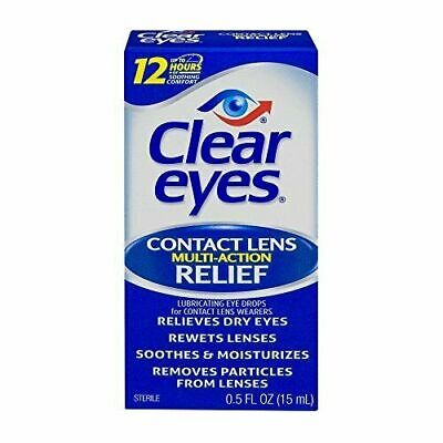 £19.19 • Buy Clear Eyes Contact Lens Relief Soothing Eye Drops 0.50 Oz (Pack Of Pack 4