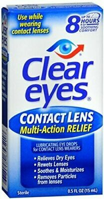 £10.97 • Buy [ 2-Pack] Clear Eyes Contact Lens Relief Eye Drops - 0.5 Oz X2