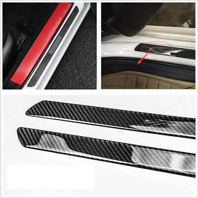 2x Accessories Carbon Fiber Car Door Sill Scuff Plate Cover Panel Step Protector • 10.97£