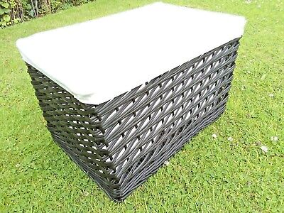 Medium Natural Woven Wicker Black Oblong Cotton Lined Storage General Use Basket • 24.99£