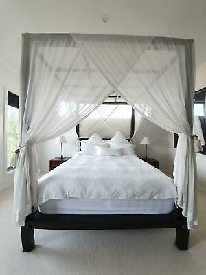 AU1500 • Buy Beautiful Solid Balinese Teak 4 Poster Queen Bed And Bedsides
