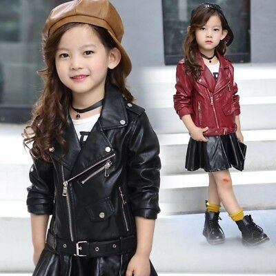 Kids Leather Jackets Motorcycle Jacket Cool Baby Girls Sport Biker Coats Outwear • 18.88£