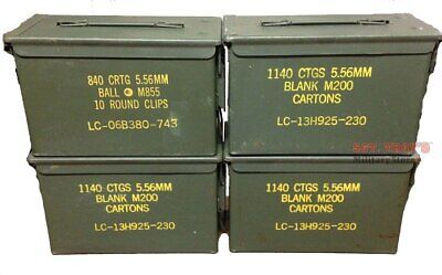 $64.93 • Buy 4 PACK .50 CALIBER 5.56mm AMMO CAN M2A1 50CAL METAL AMMO CAN BOX Very Good Empty