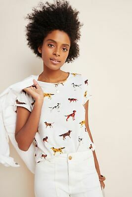 $ CDN59.47 • Buy New Anthropologie Weekend Tee Proud Pups Dogs Size S NWT