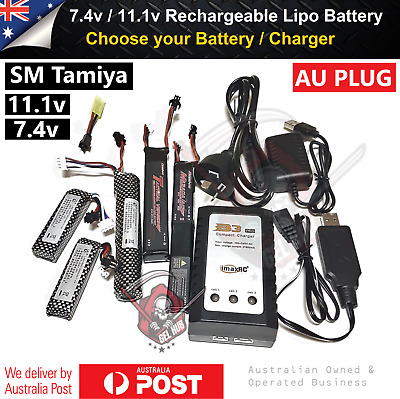 AU23.95 • Buy 11.1v/7.4v Lipo Battery Tamiya SM Adaptor B3 Charger J8 J9 J10 Gel Ball Blaster