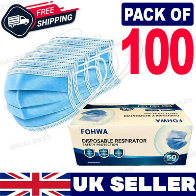 100 Disposable Face Mask Surgical 3 Ply Mouth Guard Cover Face Masks Protection • 5.35£
