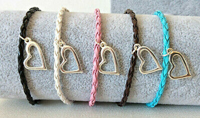 Leather Braided Bracelets/Anklets With Extenders And Heart Charm Various Colours • 1.65£