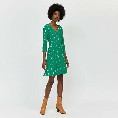 WAREHOUSE TEA DRESS VERITY GREEN DITSY YELLOW FLORAL BUTTONS  Sz 10 NEW • 36£