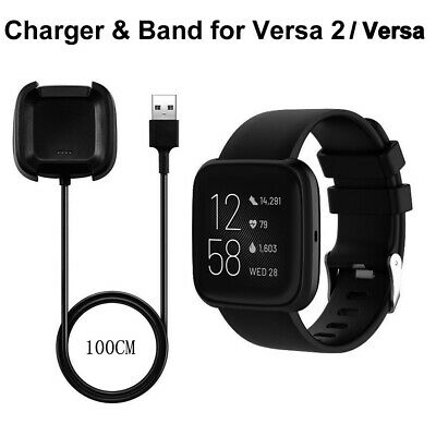 $ CDN10.53 • Buy Wristband Band Strap & Charging Cable Charger For Fitbit Versa 2 / Versa Watch