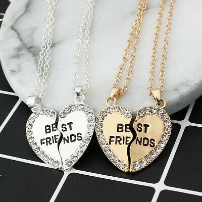 £2.99 • Buy New 2PCs Crystal Heart Pendant Necklace 2020 Silver Gold Jewelry BFF Best Friend