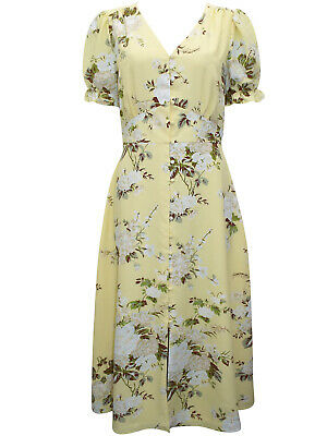 Warehouse Tea Dress Size 12 14 Yellow Floral Vintage Style Short Sleeves New • 21.95£