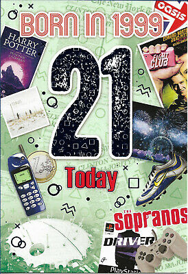 21st Male Birthday Year You Were Born Card With Facts About 1999 • 2.89£