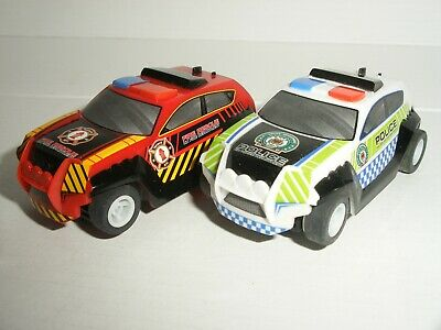 12V MICRO Scalextric - Pair Of Police & Fire / Rescue Trucks - Mint Cdn • 14.99£