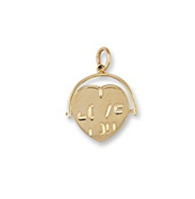 9ct Gold Heart Shaped 'I Love You' Spinner Pendant 1g • 59.99£