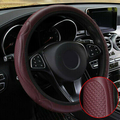 1x 38CM/15  Anti-slip Soft Leather Wine Red Car Steering Wheel Cover Accessories • 6.63£