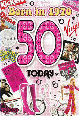 50th Female Birthday Year You Were Born Card With Facts About 1970 • 2.89£