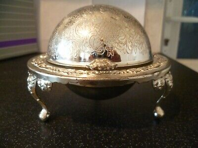 Vintage Queen Anne Silver Plated Revolving Globe Butter Preserve Glass Dish  • 12.99£