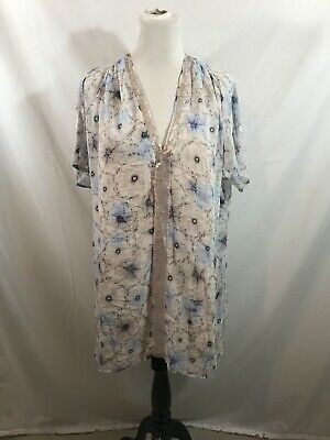 $ CDN33.11 • Buy Anthropologie One September Short Sleeve Floral Tunic - Womens Large - NWT