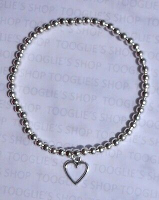 Handmade Silver Plated Stacking Bead Stretch Bracelet - Heart Charm Bnwt (055) • 2.85£