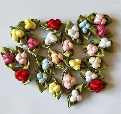 £1.50 • Buy Satin Ribbon Rose Buds With Leaves.  Assorted Colours X 25
