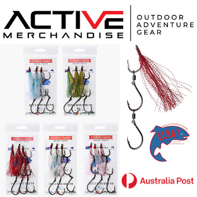AU16.50 • Buy ELKAT STRIKER 7 GANG HOOKS 3 Sets Per Pack Assembled In Australia Various Sizes!