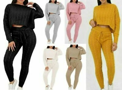 Women' Ladies Cable Knitted Baggy 2 Pieces Lounge Wear Casual Set Suit Tracksuit • 17.99£