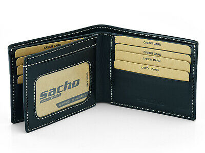 AU22.99 • Buy Mens GENUINE Leather Wallet Slim RFID Blocking Trifold Pocket Purse Card Holder