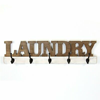 Handcrafted - Laundry Sign With Hooks • 73.05£