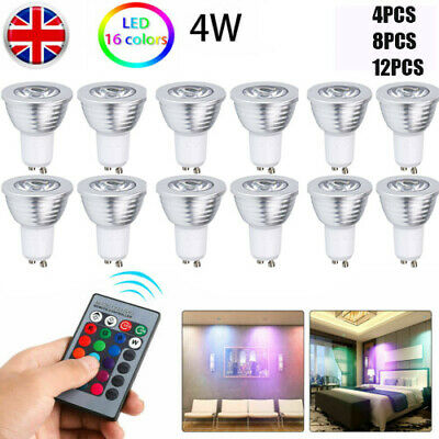 GU10 4W 16 Color Changing RGB Dimmable LED Light Bulbs Lamp RC Remote Spot • 10.44£