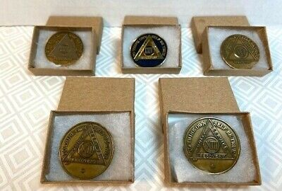 $15 • Buy Lot 5 Alcoholics Anonymous Aa Sobriety Coins/tokens/chips-12,13,17,24 & 36 Yrs