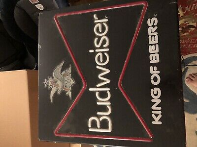 $ CDN76.46 • Buy Vintage Budweiser Anheuser Busch Beer BUD  Sign Lighted Neo Plastic King Of