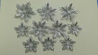 10 Silver Glitter Holly Flowers Christmas Card Toppers • 3.25£