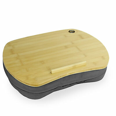 £11.99 • Buy Bamboo Cushioned Laptop Tray Portable Book & Tablet Desk Anti-Slip Strip M&W
