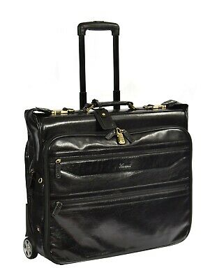 Exclusive LEATHER Suit Carrier Dress Garment Travel Weekend Bag On Wheels Black • 269.10£