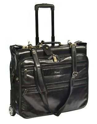 Real Leather Suit Carrier With Wheels Travel Weekend Garment Bag HOL13 Black • 299£