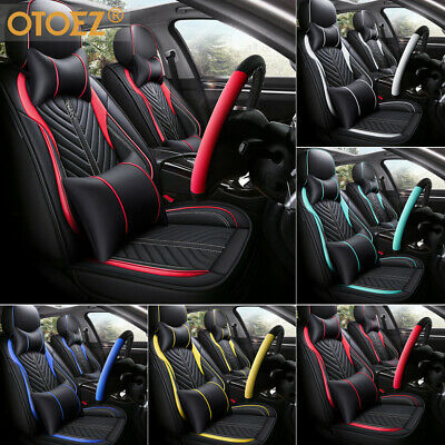 $79.98 • Buy Universal Deluxe PU Leather 5-Seats Car Seat Cover Front Rear Cushion Full Set