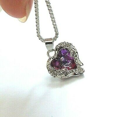 Amethyst Crystal Angel Wings Pendant Necklace Feb Birth Stone Birthday Party A2 • 6.99£