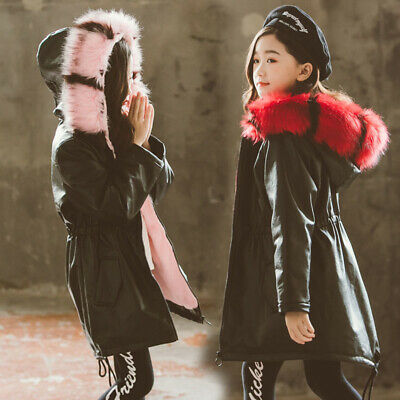 Kids Girls Parka Thick Warm Pu Leather Fur Hooded Jacket Coat Winter Coats Baby • 32.88£