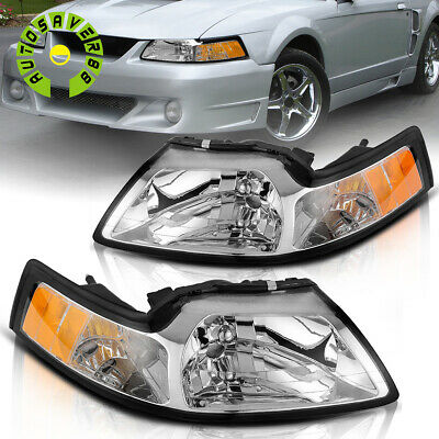 $61.99 • Buy For 1999-2004 Ford Mustang Chrome Housing Headlights Amber Corner Signal Lamps