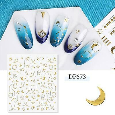 Nail Art Water Decals Stickers Gold Sun And Moon Stars Zodic Space Lace (DP673) • 2.85£