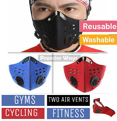 Double Vent Face Mask Reusable Washable Anti Air Pollution W/ PM2.5 Filter UK • 4.49£