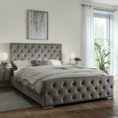 IBEX Upholstered PLUSH VELVET Bed Frame , 3ft/4ft/4ft6/5ft/6ft , MADE IN UK • 249£