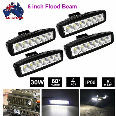 AU29.99 • Buy 4PCS 6 Inch CREE LED FLOOD Light Bar Work Reverse Offroad 4x4 SUV Driving Lamps